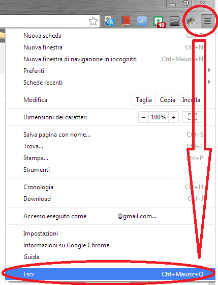 Voce Esci In Menu Chrome