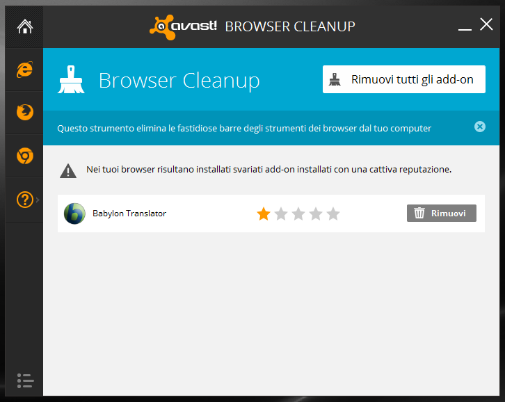 Scansione per trovare add-on dei browser con avast antivirus